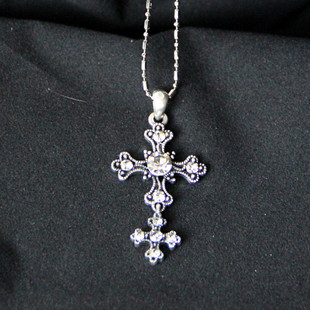 Fashion vintage double cross long necklace design lctcause