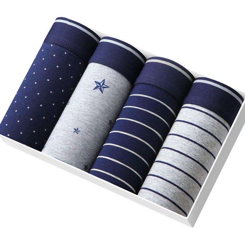 4Pcs/lot Men Boxer Trunks Soft Underwear Boxers Cuecas Made Of Modal Calzoncillos Hombre Male Boxer Mens Boxers  Gift