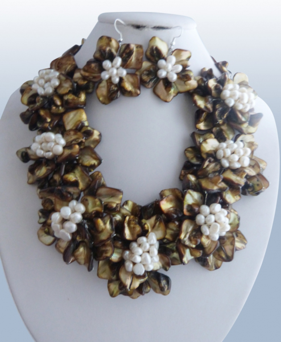 WOW! freshwater pearl brown white shell flower necklace 18inch nature 60mm gift baroque wholesale beads цена и фото
