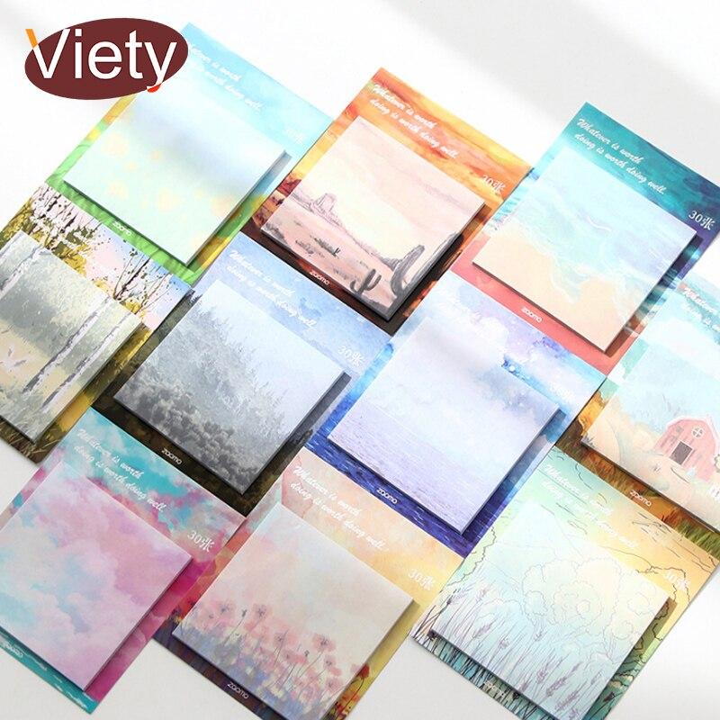 1 x Картина Пейзаж блокнот планировщик клейкая бумага для заметок стикер кавайный блокнот канцелярские принадлежности для офиса и школы|Блокноты|   | АлиЭкспресс