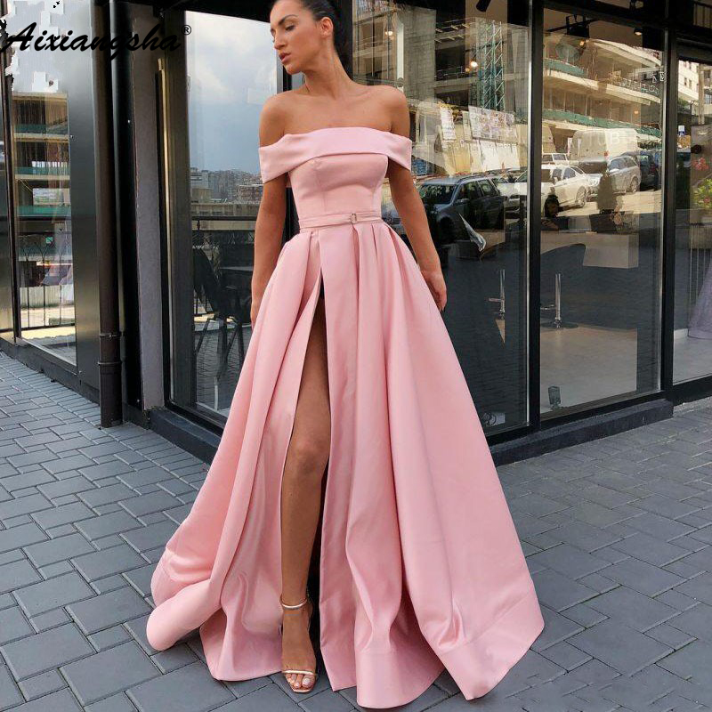 Pink Muslim Evening Dresses 2019 A-Line Satin Strapless High Leg Slit Dubai Saudi Arabic Long Elegant Evening Gown Prom Dress