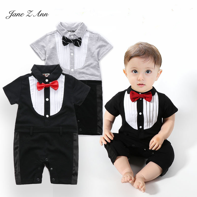 Jane Z Ann Baby boy gentlemen jumpsuit 2 types infant toddler short sleeve bow tie party wedding birthday costume baby onesie surplice neckline self tie cami jumpsuit