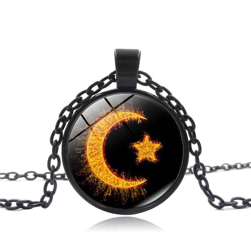 2017 New 3 Colors Fashion Glass Crystal Muslim Moon And Star Pendant Necklace Chain Middle East Turkish Religious Jewelry Gift