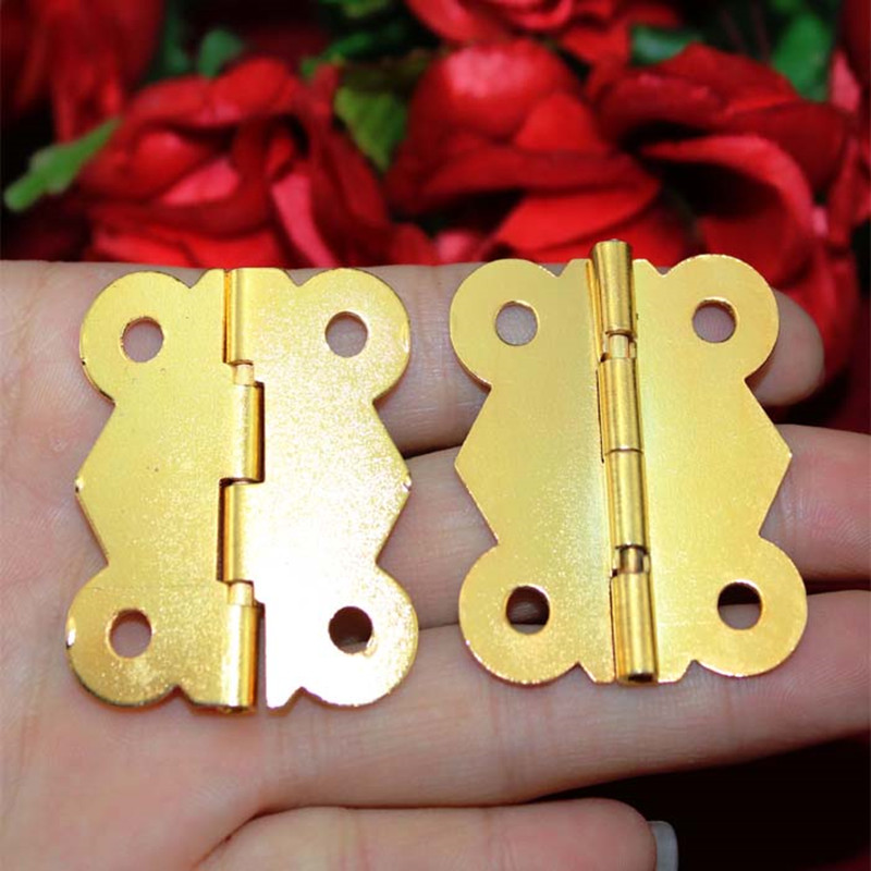 Old Style Hinge,Cabinet Door Hinge 4 Holes Butterfly Antique Gold Color,33*40mm,20pcs
