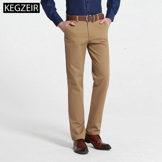KEGZEIR 2019 New Mens Casual Pants Straight Cotton Khaki Mens Fashion Pants Autumn And Winter Plus Size clothes Men Trouser