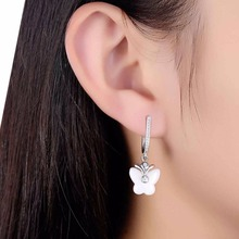 925 Sterling Silver Earrings with White Ceramic Butterfly Shape Drop Earrings