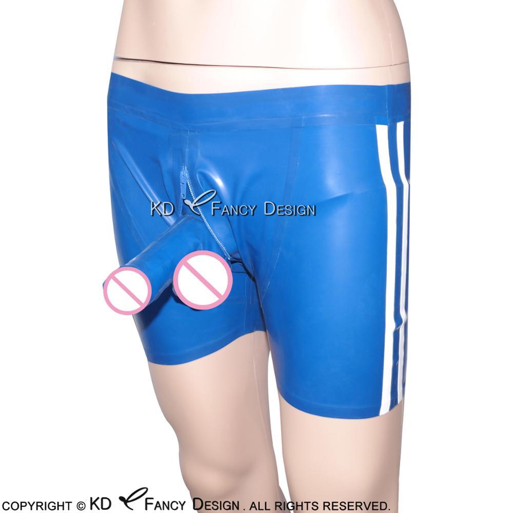 Bleu à rayures blanches deux côtés Sexy Latex Boxer Shorts en caoutchouc garçon Shorts caleçons pantalon sous-vêtements DK-0078