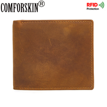 COMFORSKIN Brand RFID Protection Short Retro Man Purse Premium 100% Genuine Leather Men Wallet 2017 High Quality For Male