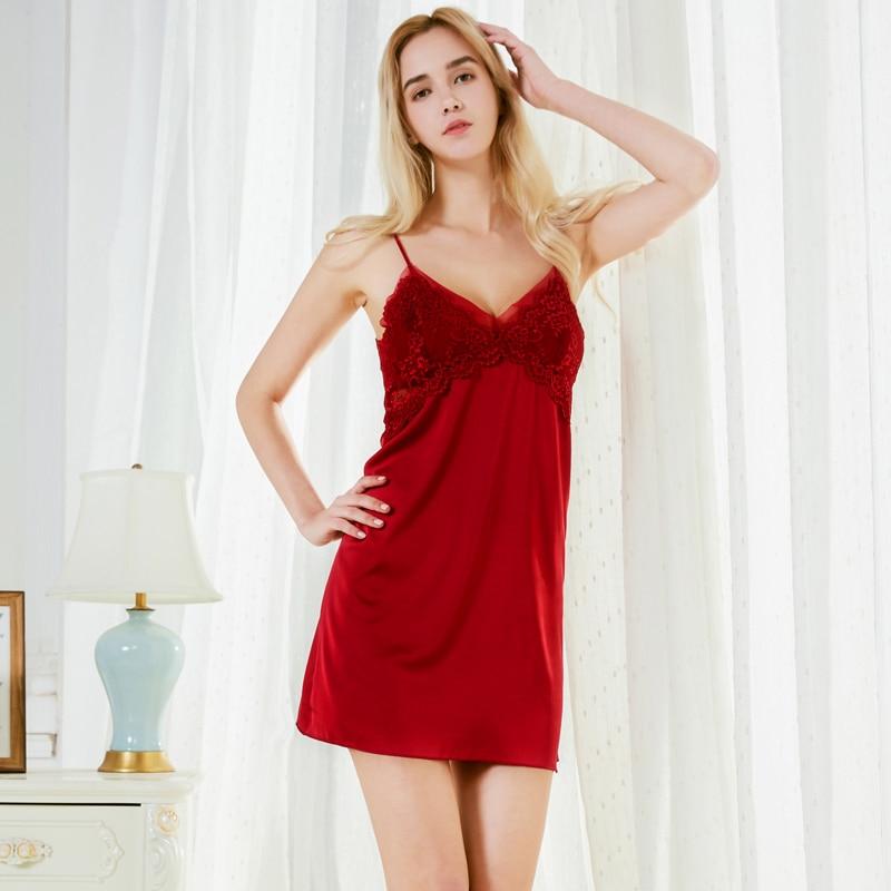 d6d17280a1 Detail Feedback Questions about New Fashion Satin Chiffon Women Nightgown  Slinky Nightdress Sexy Mesh Chemises Lace Slim Slip Sleepwear Trim Nightie  sp0050 ...