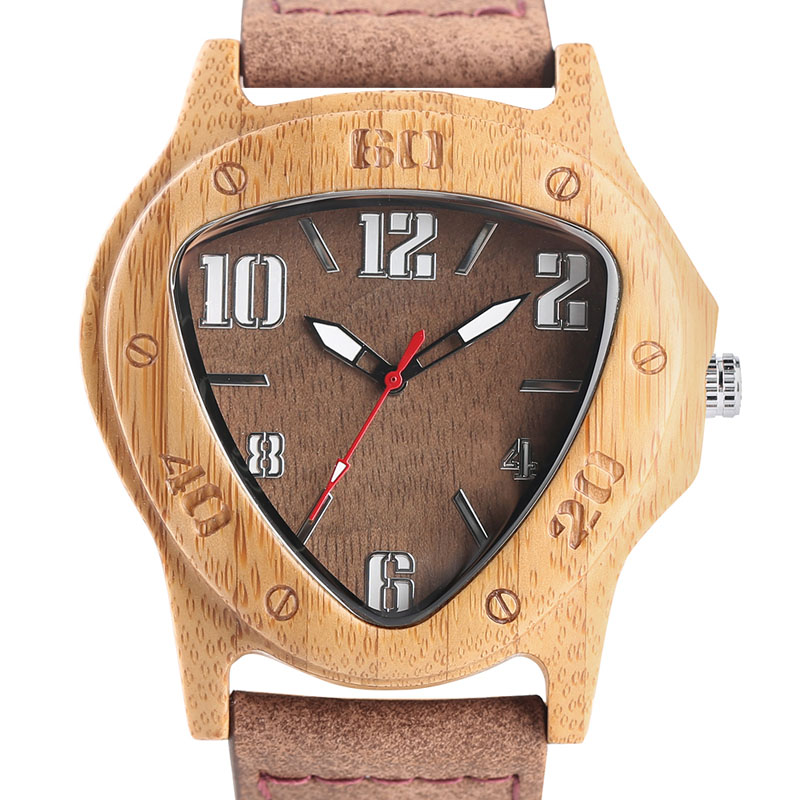 YISUYA Top Men Wood Watch Special Triangle Face Scale Natural Bamboo Handmade Lightweight Quartz Watch Genuine Leather Strap