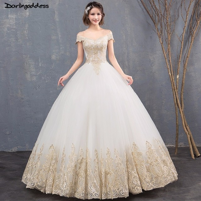 14f17d411e8 Luxury Ball Gown Wedding Dress Dubai Royal Train Wedding Gowns 2018 Gold Lace  Wedding Dress Cap Sleeve Vestido De Noiva Princesa