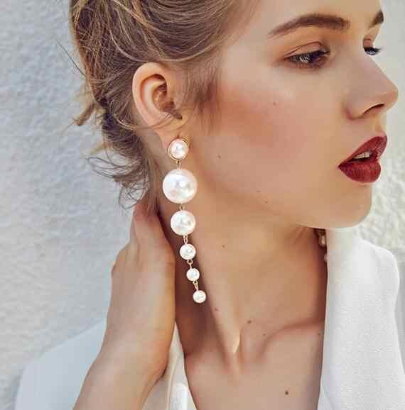 Ey263 Europa moda elegante perlas grande de imitación pendientes largos DECLARACIÓN DE pendientes colgantes para regalo de fiesta de boda