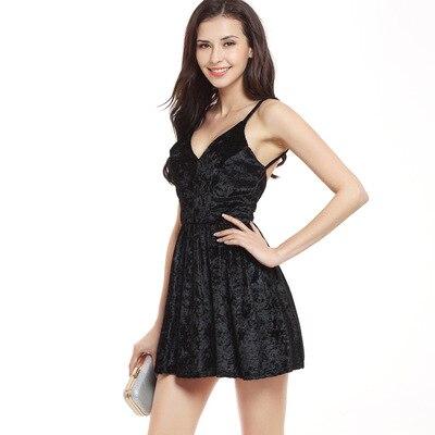 Sexy Backless Velvet Dress Brown Color Women V Neck Sleeveless Short Dress Summer Sundress Vestidos