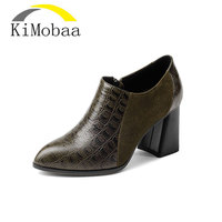 Kimobaa Women Pumps European Simple Style Black Green Thick High Heel Genuine Leather Mixed Color High