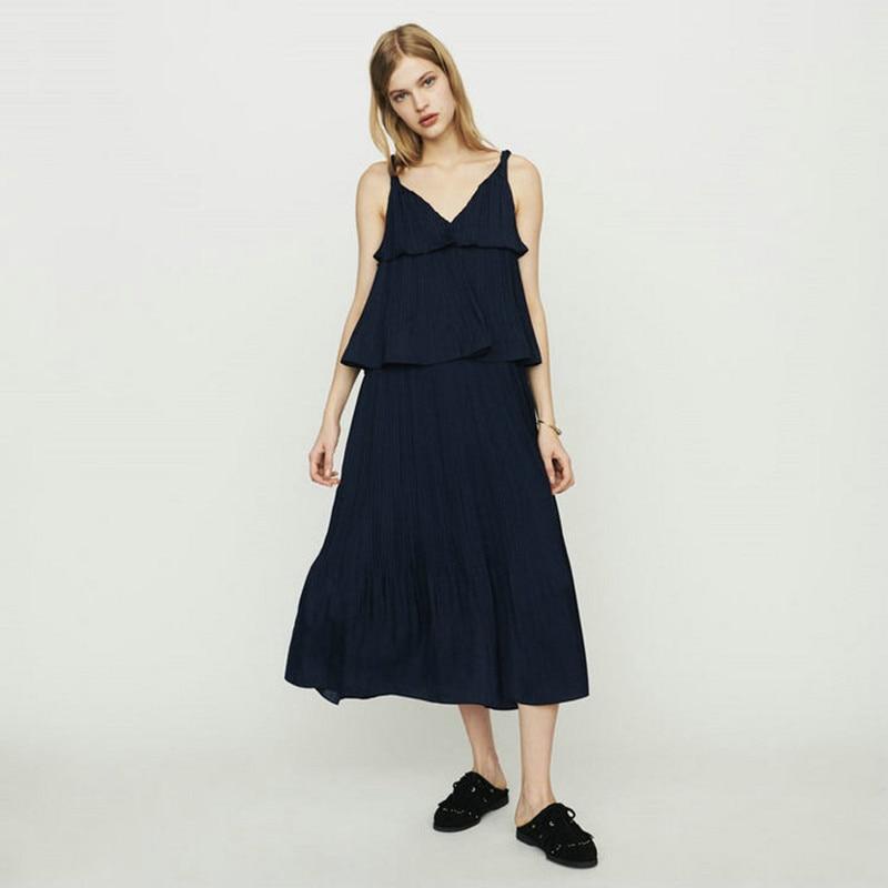 2019 New Women Blue Long Slip Dress Preppy Style Long Pleated Tiered Dress