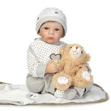 New 22Inch Soft Reborn Silicone Reborn Baby Dolls Educational Toys for Children Girls Boys Silicone Reborn Babies Dolls