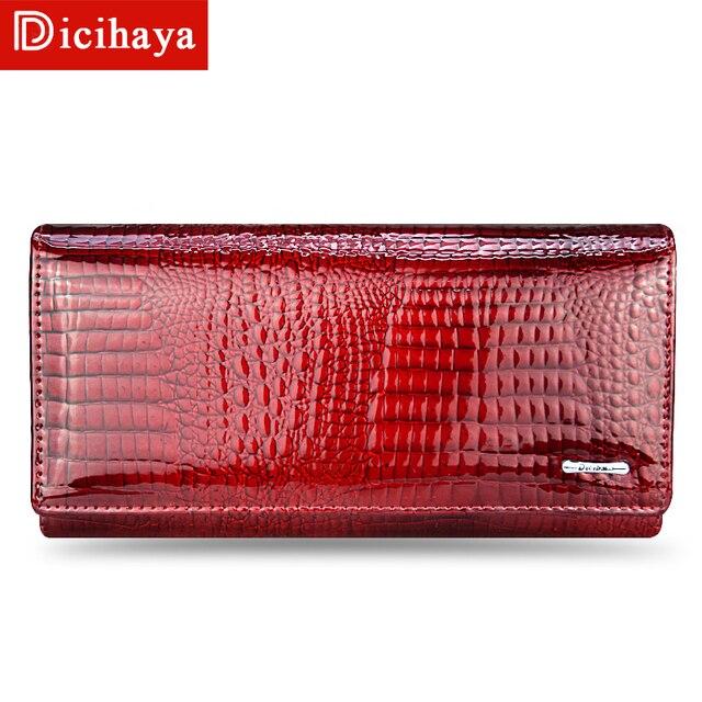 b983437ff0025 DICIHAYA prawdziwej skóry kobiet portfele damskie skórzane długie panie  portfel z dwoma zamkami błyskawicznymi sprzęgłowa torba