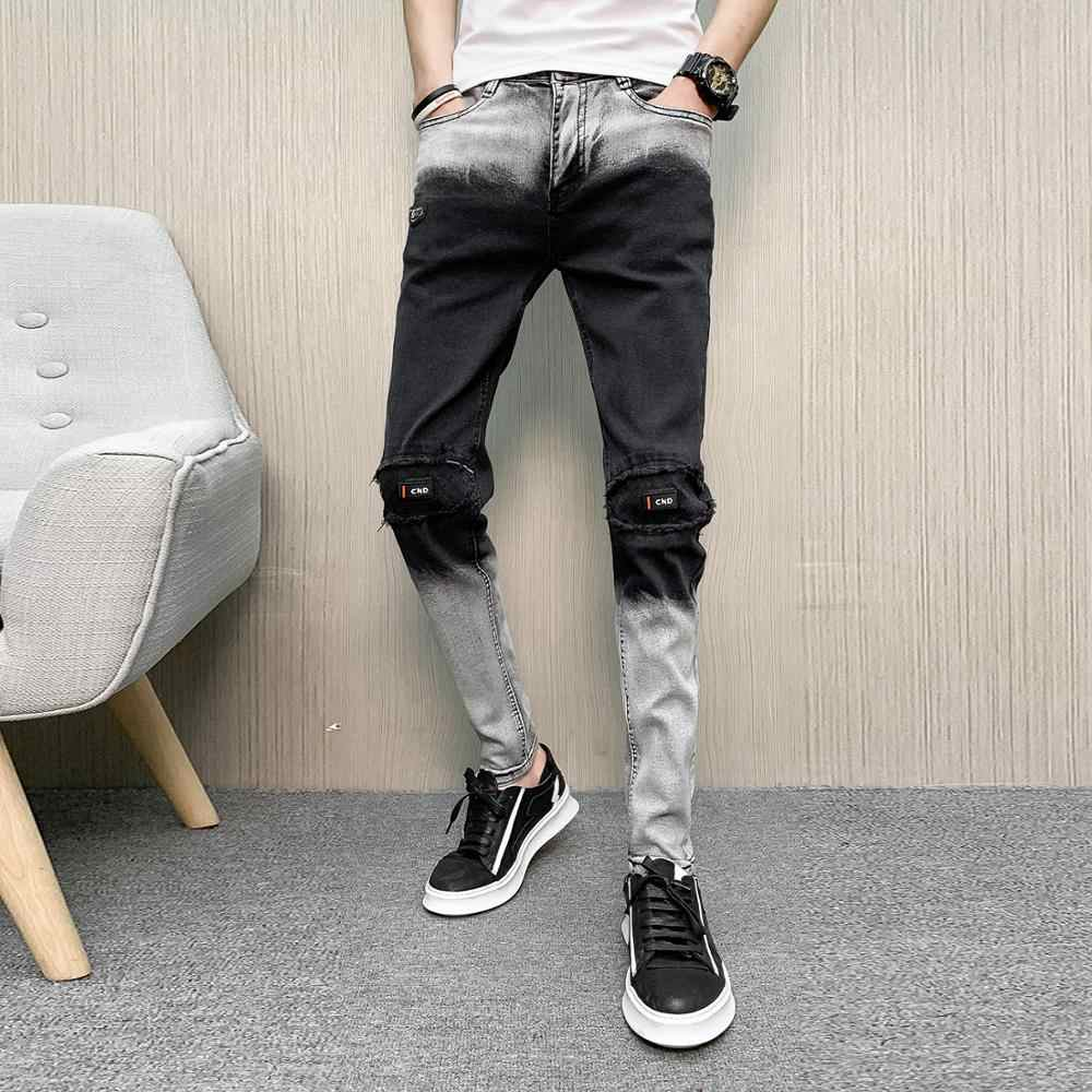 abc62e7cff6 2019 New Men's Skinny Jeans Knee Ripped Patch Slim Fit Casual Pants Boys  Stretch Denim Trousers