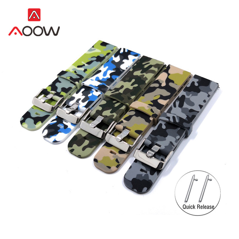 20mm 22mm Camo Printing Silicone Sport Strap For Samsung Galaxy Watch Active 42mm 46mm Gear S2 S3 Bracelet Band For Smart Watch