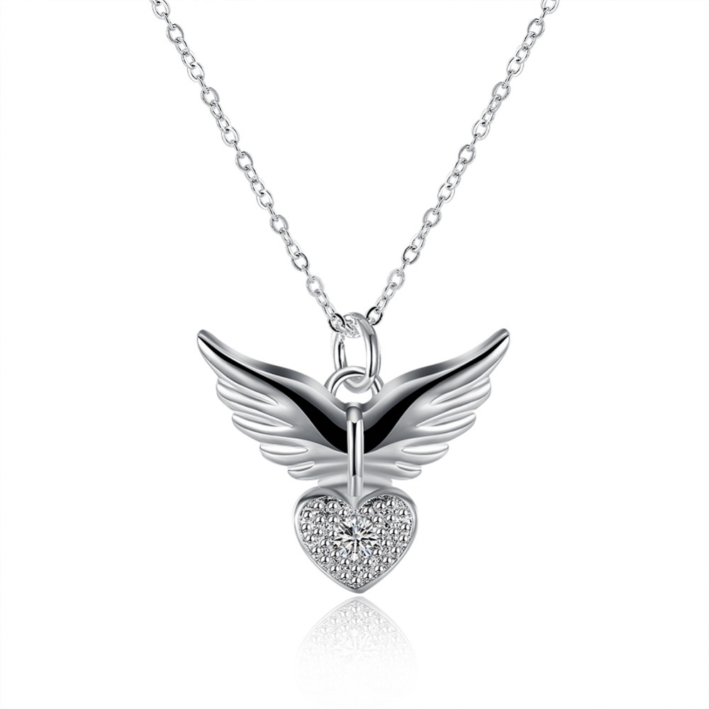 925 Sterling Silver Necklaces Angel Wings Necklaces Jewelry Flying Wings Diamond Heart Necklace Simple Fine Valentines Gift NEW925 Sterling Silver Necklaces Angel Wings Necklaces Jewelry Flying Wings Diamond Heart Necklace Simple Fine Valentines Gift NEW
