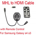 High Quality MHL Micro USB to HDMI Adapter Cables With Remote Control For Samsung Galaxy s3 s4 Free Shipping