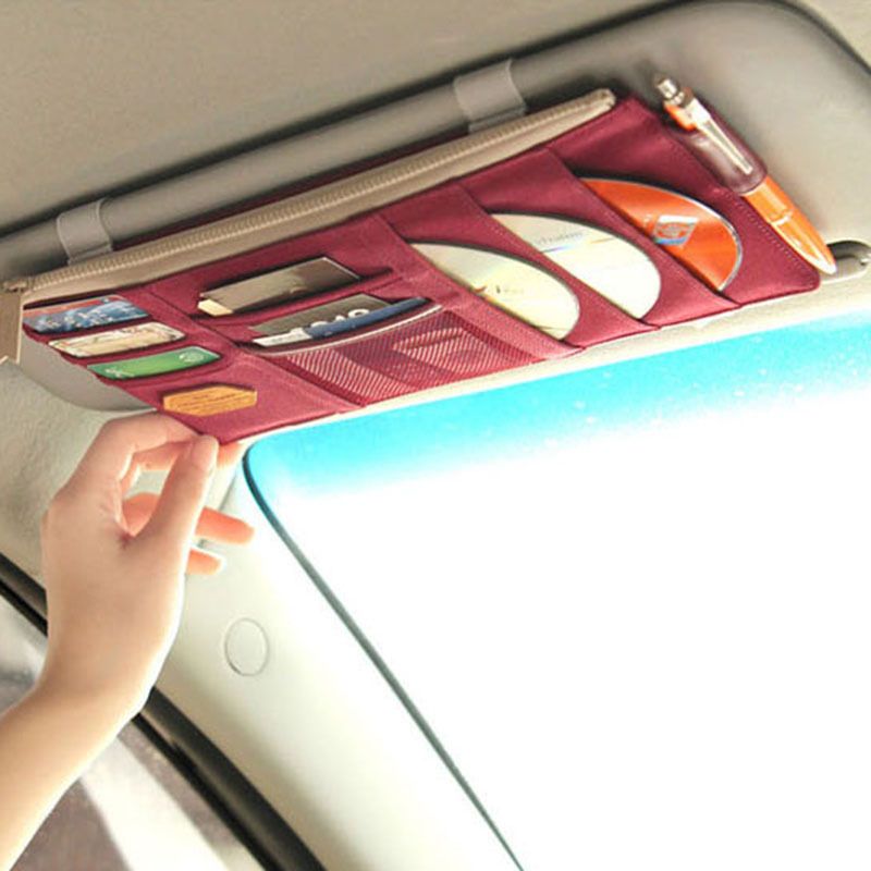 4 Colors Car Sun Visor CD Storage Bag Multifunction Card Storage Bag Organizer Pouch Hanging Bag Card Holder
