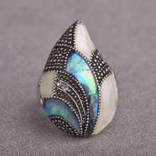 Blucome Whater Drop Tears Jewelry Set Antique Silver Plated Necklace Earring Ring Set Abalone Shell Jewelry Set For Women joias