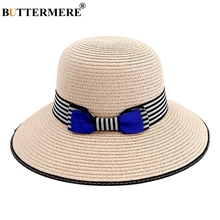 BUTTERMERE Summer Hats For Women Striped Bowknot Pink Sun Hat Girl Vintage Wide Brim Beach Anti-UV Solid Female Straw