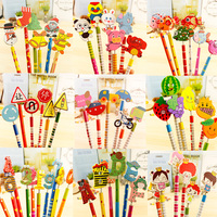 60PCS/lot Wooden pencil children cartoon creative puppet spring pencil Christmas gift office supplies for school students