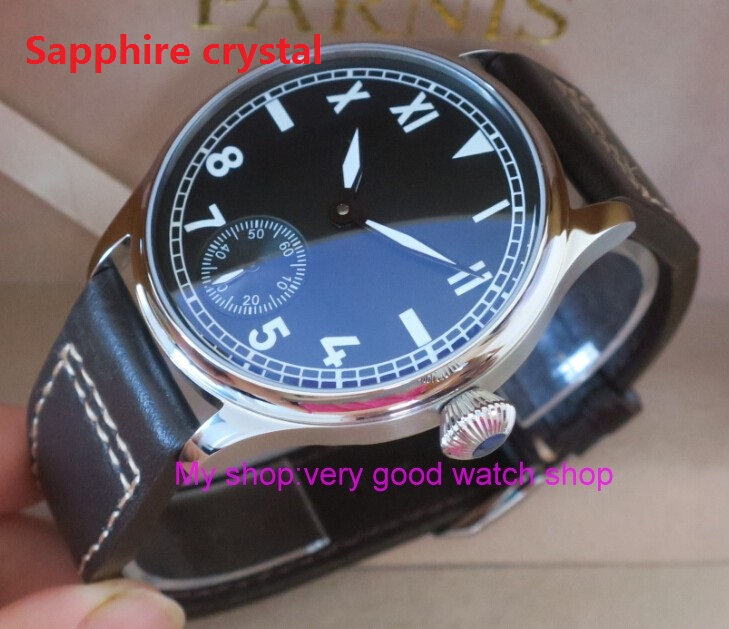 Sapphire crystal	44 mm PARNIS black dial Asian 6498/3621 Mechanical Hand Wind men watches luminous Mechanical watches  03rnm limited edition watch 50mm big dial parnis men s watch asian 6498 mechanical hand wind pvd black watchcase 84aa