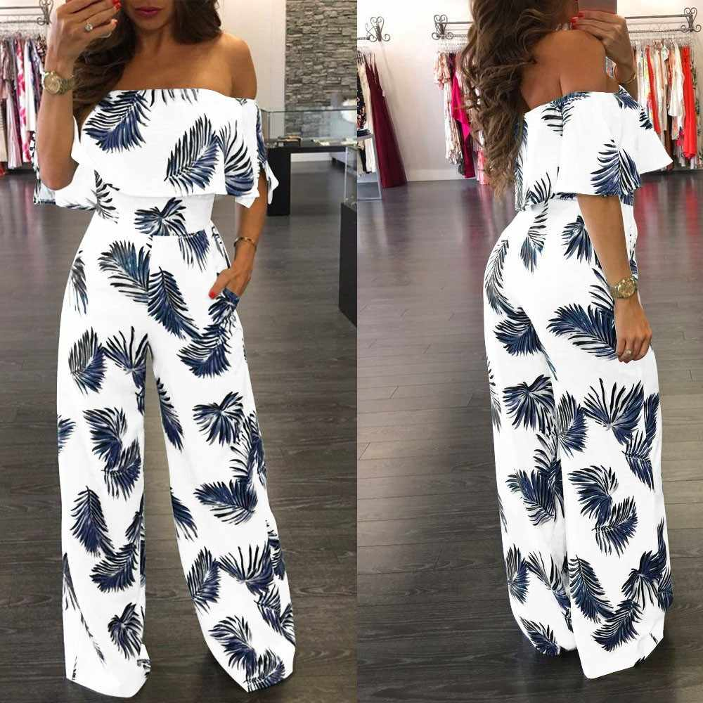 Off Shoulder Tropical Leaf Printed Jumpsuit Women summer Casual short Sleeve Sparkly Loose Rompers  Playsuit Wide Leg Pants