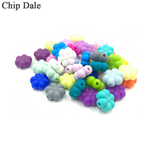 Chip Dale 10 Pcs Flower Shape Silicone Beads DIY Necklace Pacifier Teething Beads Multi-Colors Safe