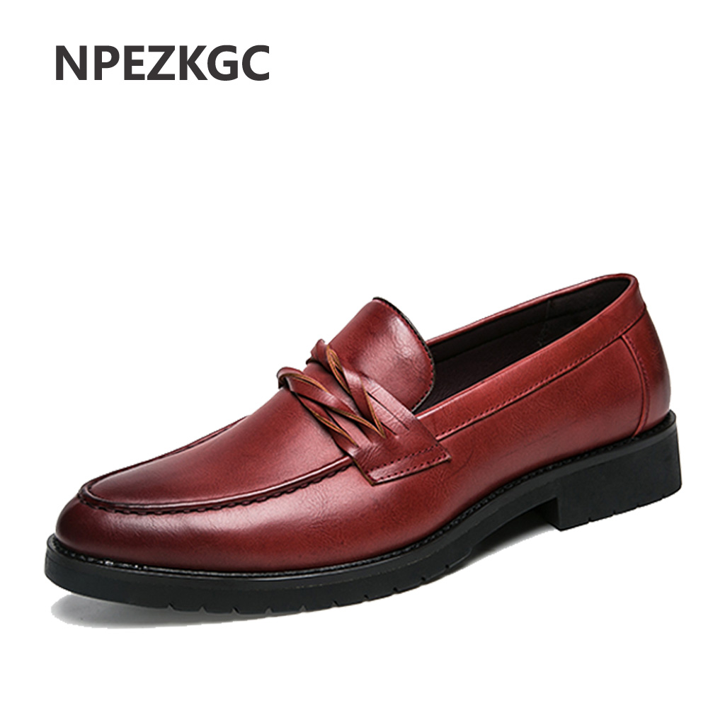 NPEZKGC New Oxford Shoes for Men Leather 2018 slip on Front Men Dress Shoes Fashion Pointed Toe Men Shoes Leather Male Flats new fashion autumn solid color men shoes leather low slip on men flats oxford shoes for men driving shoes size 38 44 yj a0020