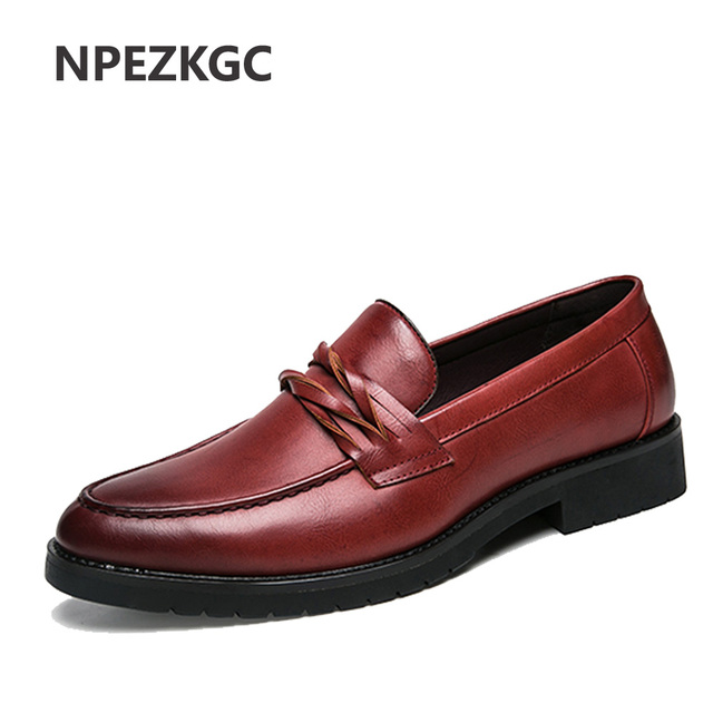 NPEZKGC New Oxford Shoes for Men Leather 2018 slip on Front Men Dress Shoes Fashion Pointed Toe Men Shoes Leather Male Flats