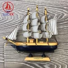 LUCKK 18CM Wooden Model Ship Nautical Home Interior Decoration Wood Crafts Loft Furniture Room Accessories Mini Boat Decor