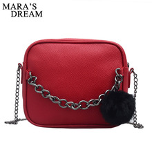 Mara's Dream 2018 Small Chain Women Bag Women Leather Handbag Women Messenger Bags PU Shoulder Crossbody Bag Ball Toy Bolsa