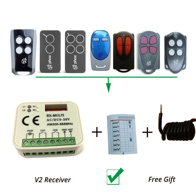 V2 TSC TRC PHOX Rolling Code Garage door opener Replacement/Compatible Receiver aftermarket v2 garage door remote v2 transmitter v2 radio control v2 rolling door remote repacement rolling code 433 92mhz
