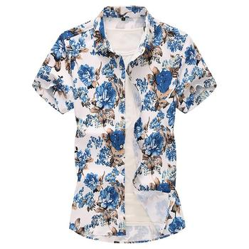 Plus Size 6XL 7XL Flowers Shirt for Men Blue Floral Beach leisure Hawaiian Men's Clothes dress Shirts Fashion Summer pinkwin blue 6xl