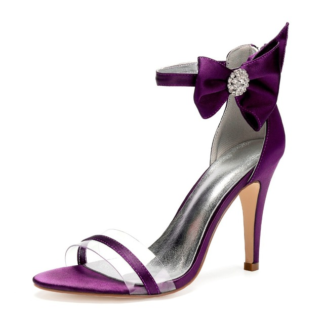 Sweet lady satin evening dress high heel sandals with bow on ankle bridal  wedding party prom ball fashion show shoes stiletto 1f65f73b32de