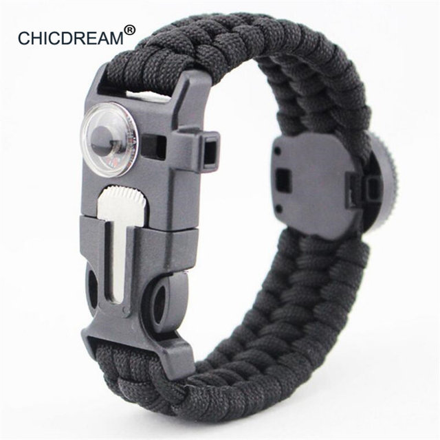 5 In 1 Braided Bracelet Multifunction Comp Paracord Survival Outdoor Camping Rescue Emergency Rope Bracelets