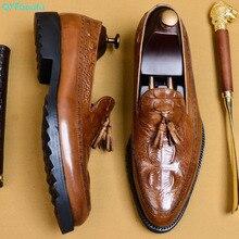 QYFCIOUFU 2019 Hot Handmade Formal Shoes Men Wedding Office Male Dress Shoe Genuine Calf Leather Oxford Crocodile EU 46