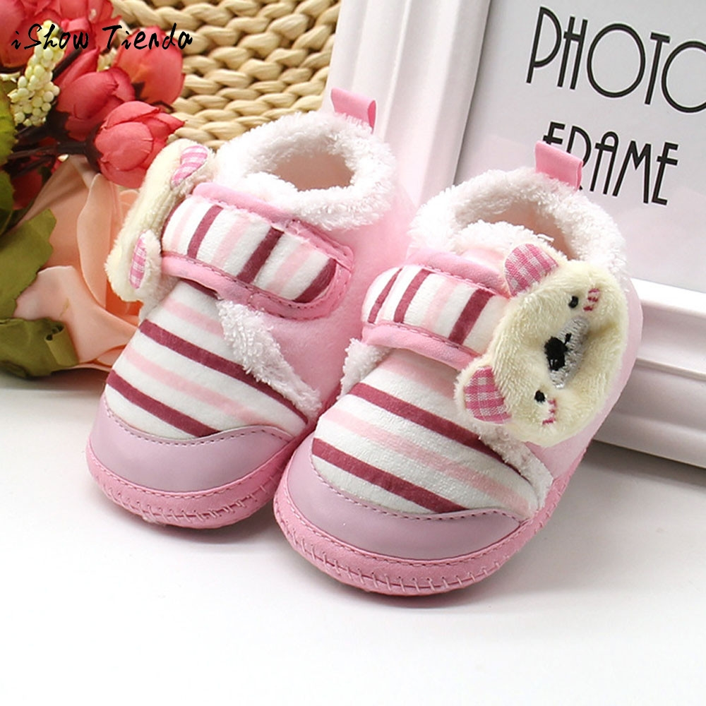 2Colors Sweet Newborn Baby Girls Princess Bowknot Winter Warm First Walkers Soft Soled Infant Toddler Kids Girl Cack Shoes