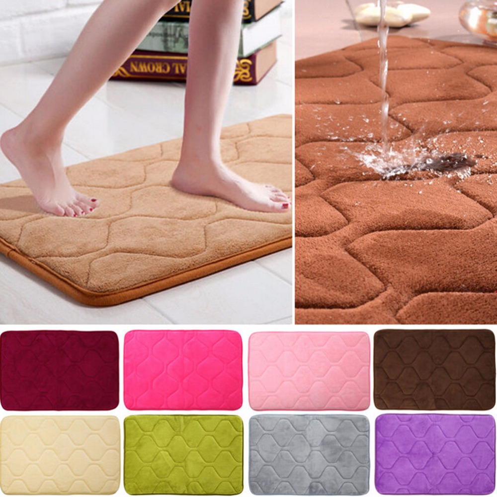 40cmx60cm Absorbent Memory Foam Non-slip Kitchen Floor Mat Square Coral Velvet  Bathroom Shower Bath Mat Rug Sanitary Ware Suite