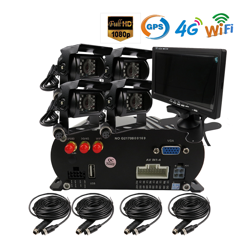 Free Shipping 4 CH WIFI GPS 4G 1080P AHD 2TB HDD SD font b Car b