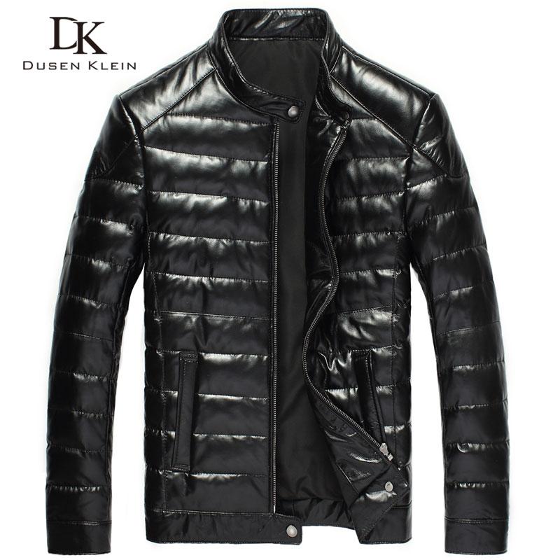 2016 nouveaux hommes en cuir véritable doudoune marque Dusen Klein noir / mince / manteau en cuir de peau de mouton DK033