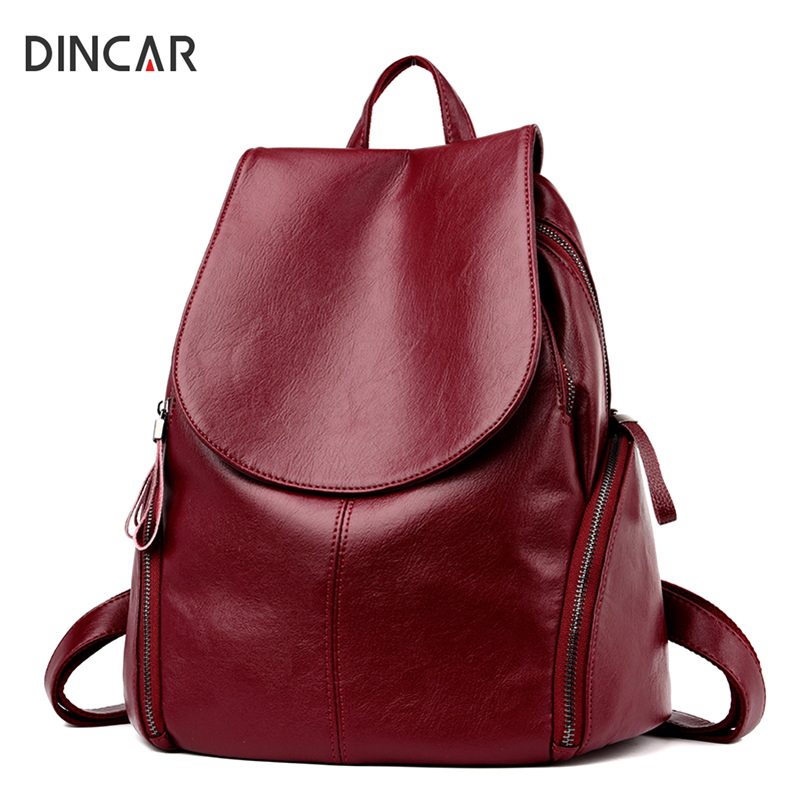 DINCAR Multifunction Women Backpack High Quality Pu Leather Back Pack School Bags For Teenagers Girls Student Backpack Mochilas