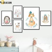 Deer Hedgehog Fox Bear Rabbit Flower Nordic Posters And Prints Wall Art Canvas Painting Nursery Pictures Kids Room Decor