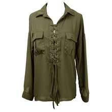 Autumn Fashion Women casual shirt blouse Long Sleeve deep v-neck sexy lace up hollow out loose pocket solid blouse tops