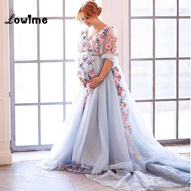 Plus Größe Schöne Langärmelige Baby Blue Formale Abendkleid Floral ...