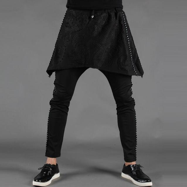 Espaço de algodão de primavera e verão finas calças de comprimento no tornozelo masculinos calças calças justas legging faux dois set pedaço personalidade